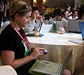 Wikimania2007 Rebecca with camera.jpg