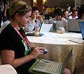 Wikimania2007 Rebecca with camera.jpg