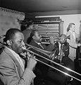 Wilbur De Paris, Sammy Price, Sidney De Paris, Eddie Barefield, and Charlie Traeger, Jimmy Ryan's (Club), New York, ca. July 1947 (William P. Gottlieb 02031).jpg