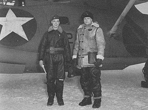 Akutan Zero - Pilot Bill Thies (left) in front of his Catalina that discovered the Akutan Zero.