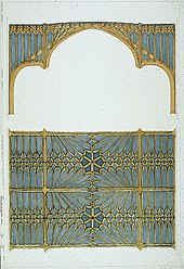 Two designs for a ceiling, one showing a side view of structure and decoration; the bottom showing how it would appear from below. The ceiling is decorated with a network of gothic arches in gold on a blue background.