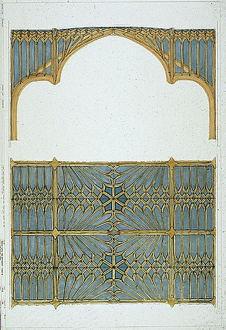 Windsor Castle - A presentation drawing for the new Private Chapel, showing a Gothic design by Giles Downes