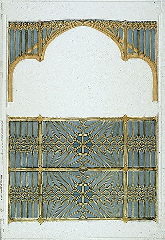 A presentation drawing for the new Private Chapel, showing a Gothic design by Giles Downes Windsor Castle Private Chapel.jpg