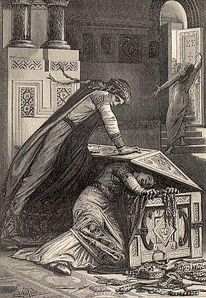 Fredegund - Fredegund and Rigunth, steel engraving from Mme de Witt, Vieilles histoires de la patrie, 1887