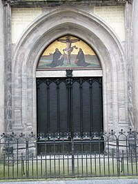 According to one account, Luther nailed his Ninety-Five Theses to the door of All Saints' Church in Wittenberg on 31 October 1517, sparking the Reformation. The Latin inscription above informs the reader that the original door was destroyed by a fire, and that in 1857, King Frederick William IV of Prussia ordered the replacement be made. Luther's theses were engraved into today's bronze gate (pictured).