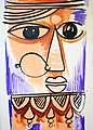 Woman's head, traditional wall painting by villagers, near Katni, M.P., India.jpg