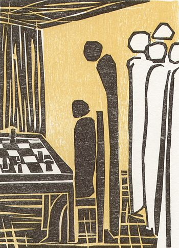 English: One of six woodcuts to the chess stor...