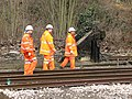 Work on the railway line at Reedham station - safety inspection - geograph.org.uk - 1754339.jpg