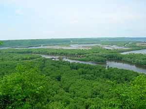 Mississippi River - Confluence of the Wisconsin and Mississippi Rivers, viewed from Wyalusing State Park in Wisconsin