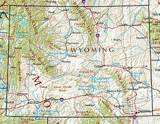 Wyoming - Wyoming terrain map