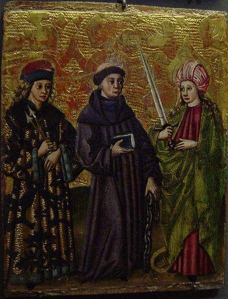 XV century painting of St Sebastian, St Linhart and St Catherine.jpg