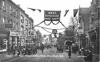 Sutton, London - Sutton High St., Christmas, 1910