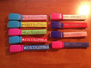 Xyloband - A collection of Xylobands, as they appeared during the Mylo Xyloto Tour.