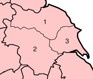 Yorkshire has three major subdivisions known as the ridings of Yorkshire: North Riding West Riding East Riding Yorkshire Ridings.png