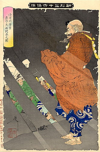 Tengu - Kobayakawa Takakage debating with the tengu of Mount Hiko, by Tsukioka Yoshitoshi. The tengu's nose protrudes just enough to differentiate him from an ordinary yamabushi.