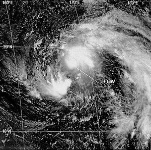 Fujiwhara effect - Tropical cyclones Yule and 16W merging, in August 1997