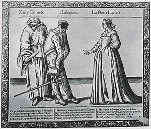Innamorati - Image: Zanni, Harlequin and Lucretia