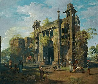 Lalbagh Fort - South gate of the fort painted by Johan Zoffany in 1787