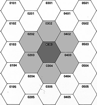 Zone of control - Concept of ZOC. Hex center (0303) When a unit, common to six hexes surrounding a range of ZOC.