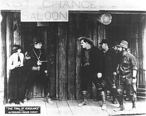 Al Ferguson - Al Ferguson and Pauline Curley in The Trail of Vengeance (1924), filmed in Beaverton, Oregon
