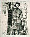 'In the towns - a bus conductress', Archibald Standish-Hartrick, 1917 (17989872619).jpg