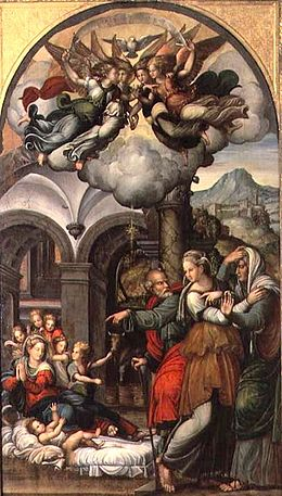 'Nativity with the Two Midwives', oil on canvas painting by Pellegrino Aretusi, Estense Gallery, Modena, Italy.jpg