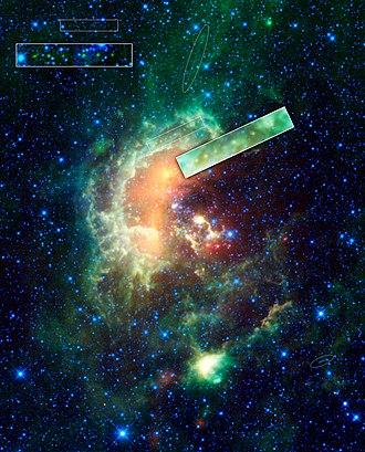 1719 Jens - Jens (yellow-green dots) transists near the center of the Tadpole Nebula.