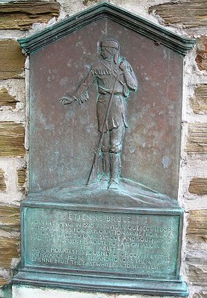 Étienne Brûlé - A plaque to commemorate Étienne Brûlé's discovery of the pathway to the Humber in Etienne Brule Park of Toronto, Ontario, puts his date of birth at 1595.