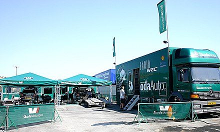 Skoda preparing their cars a day before the shakedown. Skoda Motorsport 2005.jpg