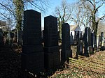 Jewish cemetery at the town of Strakonice, South Bohemian Region, Czech Republic - the gravestone on the left is the newest, dating back to the year when the local Jewish community ceased to exist