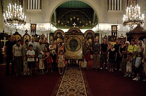 Ancha icon - A copy of the Ancha icon at the Eastern Orthodox Church in Cannes in 2010.