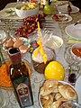 Праздничный стол на Пасху 2014 (Шашлык, домашняя выпечка, кагор).JPG