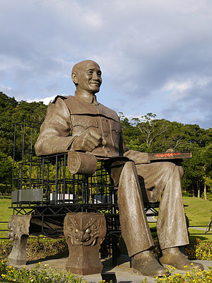 Chiang Kai-shek statues - Wounds and Regeneration at the Cihu Memorial Sculpture Park is the partially reconstructed seated bronze from Kaohsiung.