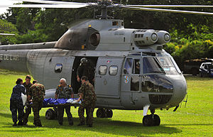 Pacific Partnership - Personnel loading an injured Australian man into a French Puma helicopter during Pacific Partnership 2011
