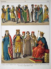 Diversaj germanaj kostumoj de la periodo