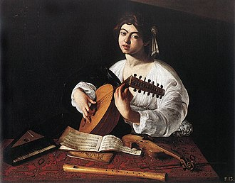 Jacquet de Berchem - The Lute Player by Caravaggio (1596).  One of the musical scores shown in this painting is a secular composition by Jacquet de Berchem.