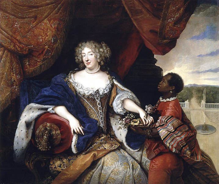 File:1680 portrait of the Duchess of Orléans (Elisabeth Charlotte of the Palatinate) being attended to by a slave by François de Troy.jpg
