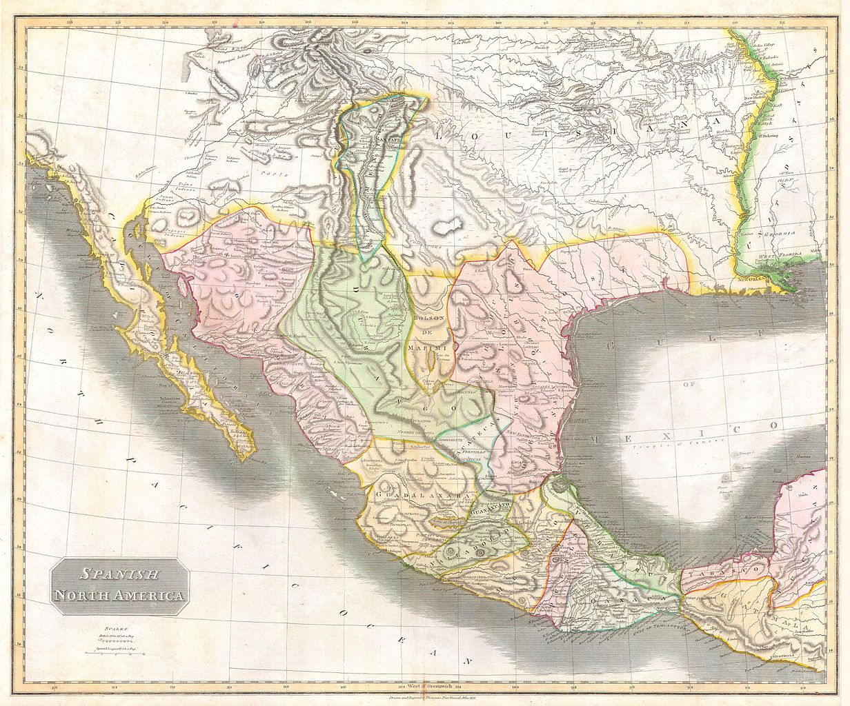 Map Of Texas And Louisiana Border.File 1814 Thomson Map Of Texas Mexico Louisiana Geographicus