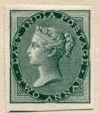 """Postage stamps and postal history of India - The De La Rue design for the Recess Printed issues:  an 1856 color imprimatur, 2 annas """"bottle green"""""""