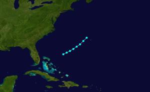 1869 Atlantic hurricane season - Image: 1869 Atlantic tropical storm 4 track