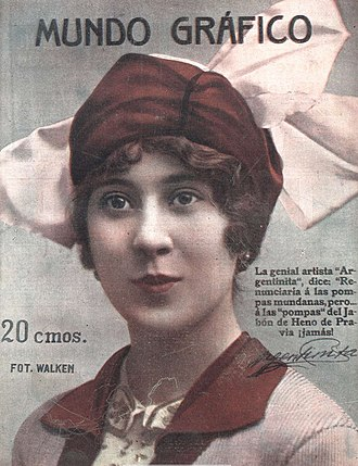 La Argentinita - La Argentinita on the cover of Mundo Gráfico, 1916