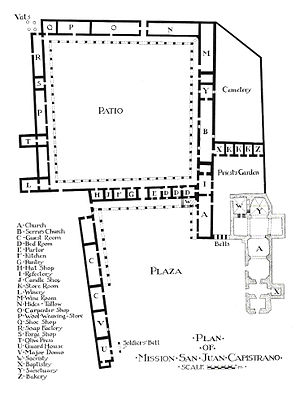 a plan view of the mission san juan capistrano complex including the footprint of the great stone church prepared by architectural historian rexford