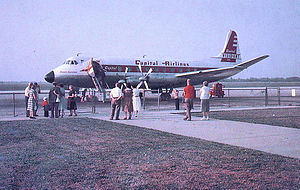 Capital Airlines - A Capital Airlines Vickers Viscount at Allentown, Pennsylvania ABE Airport discharging passengers in 1960.