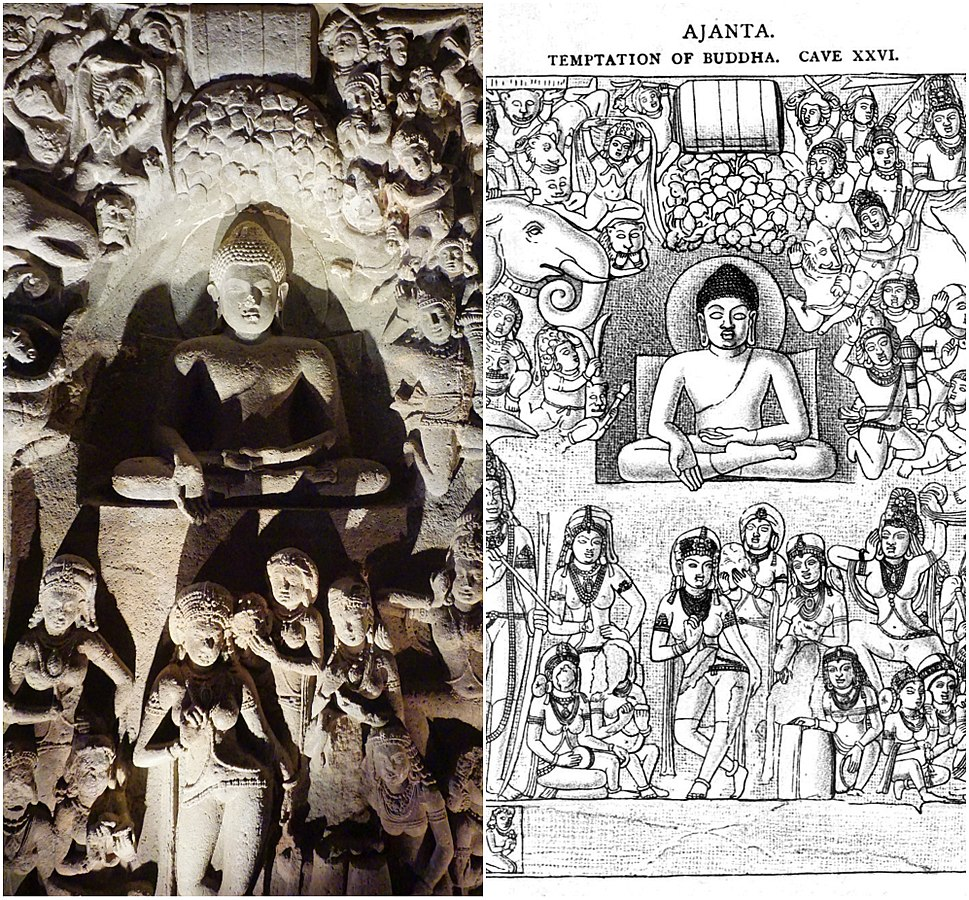 19th century sketch and 21st century photo collage, Cave 26 Ajanta, Temptation of the Buddha