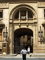 The entrance to the Dakota building where Lennon was shot.
