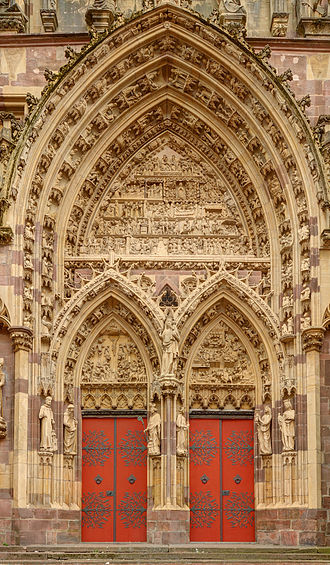Thann, Haut-Rhin - Collégiale - Detail of the West Front