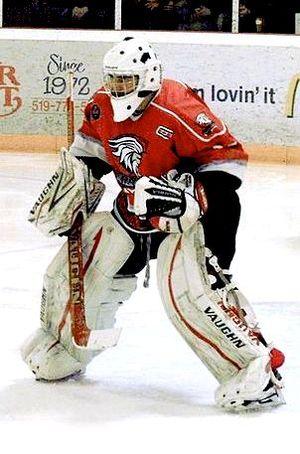 Midwestern Junior C Hockey League - Centennials' goaltender during 2013 Clarence Schmalz Cup playoffs.
