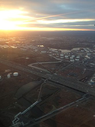 Morses Creek (New Jersey) - View west up Morses Creek in Linden, New Jersey from a plane heading for Newark Airport (2014)