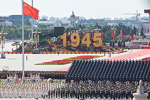 2015 China Victory Day Parade - Board showing the year when the Second World War ended.