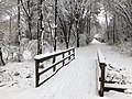 2018-03-21 13 01 47 View along a snow-covered walking path as it crosses a bridge in the Franklin Farm section of Oak Hill, Fairfax County, Virginia.jpg